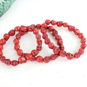 3/$20Just Like Candy Red Stone Skull Bracelet